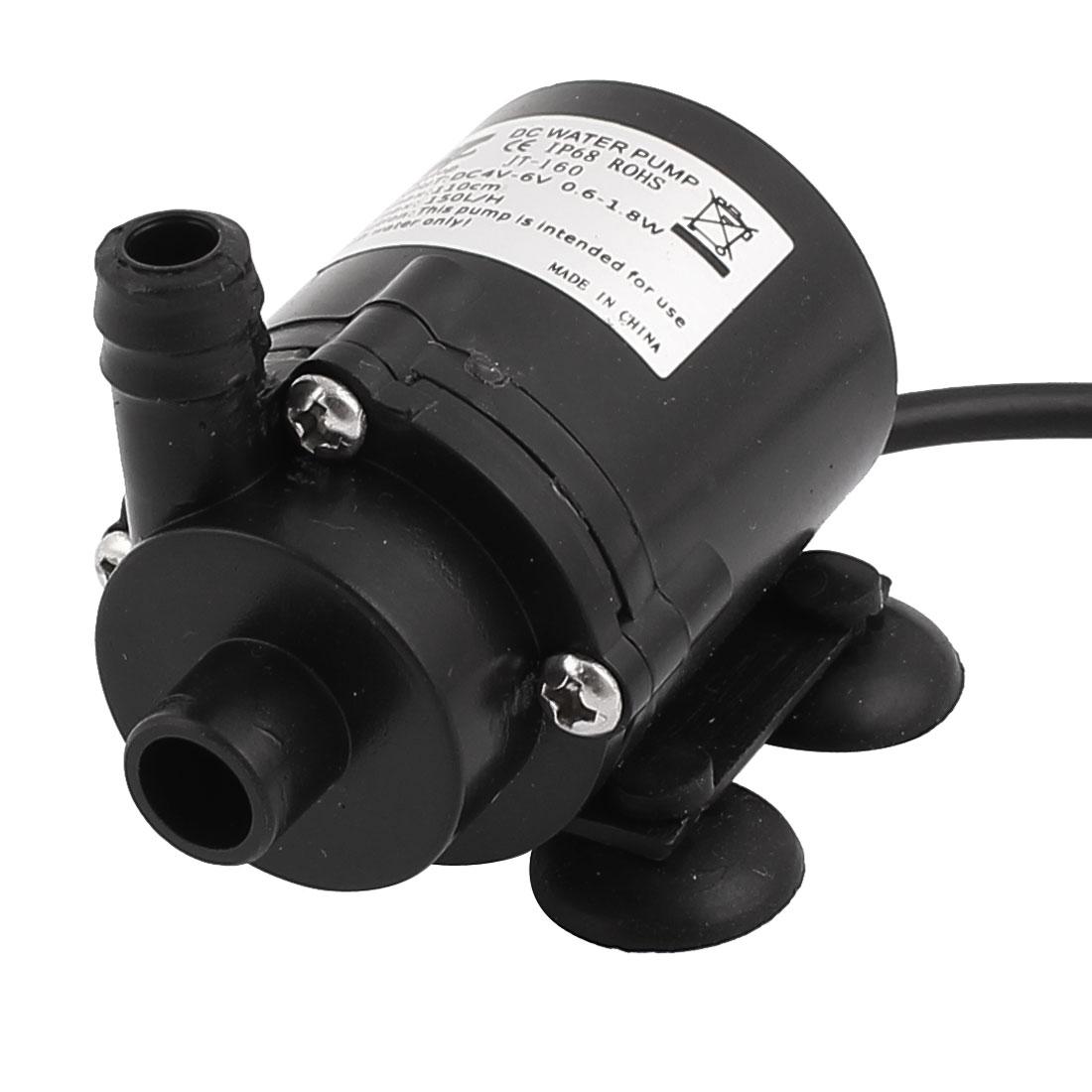 DC 4V-6V 0.6-1.8W Brushless Mini Inlet Outlet Submersible Pump for Aquarium USB Pulg
