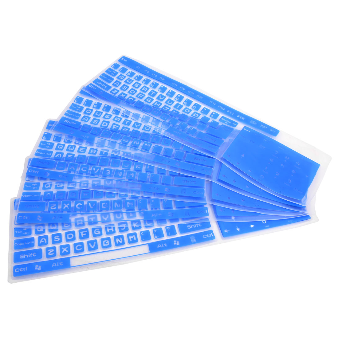 Desktop Computer Silicone Washable Keyboard Film Cover Protector Blue 5pcs