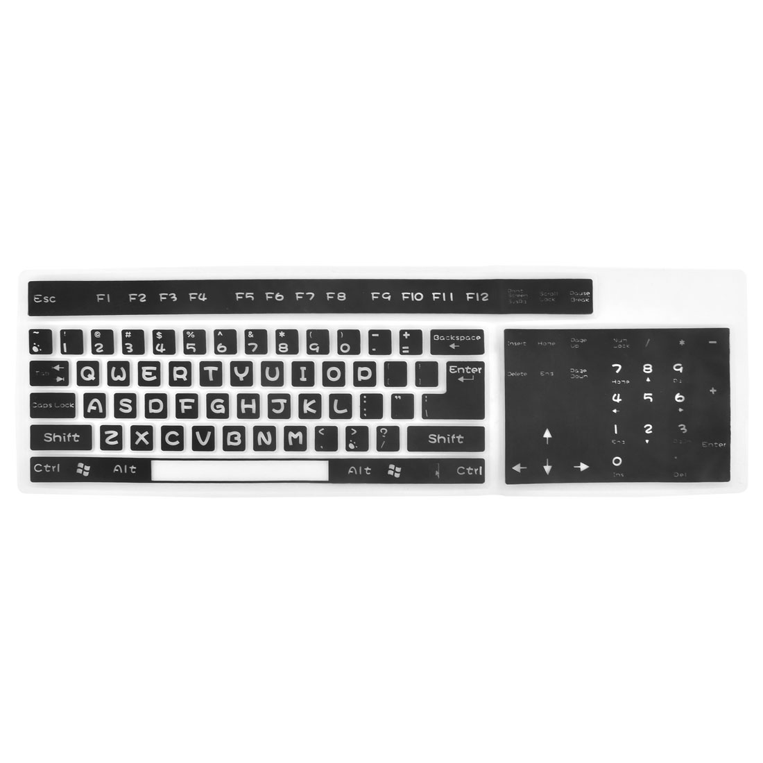 Desktop Computer Silicone Foldable Washable Keyboard Film Cover Protector Black