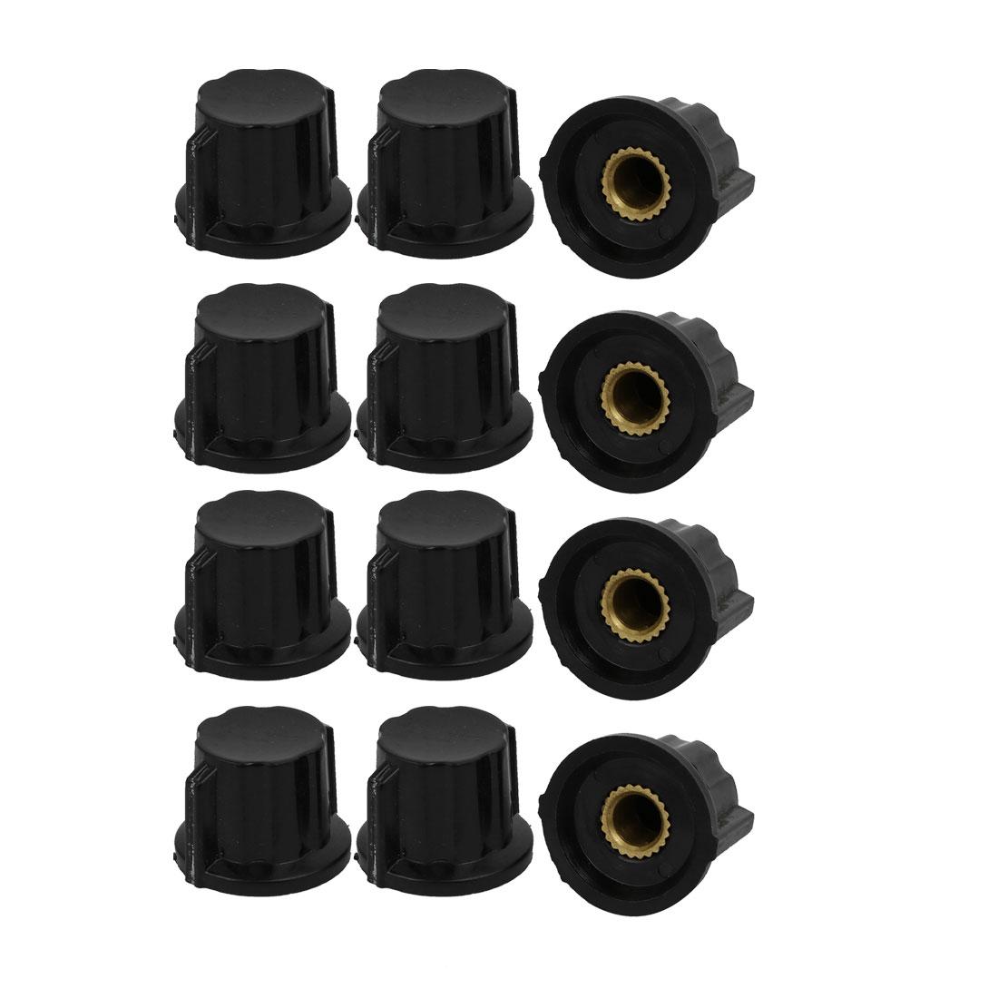 6mm Plastic Rotary Potentiometer Volume Control Knob Cover Cap Black 12pcs
