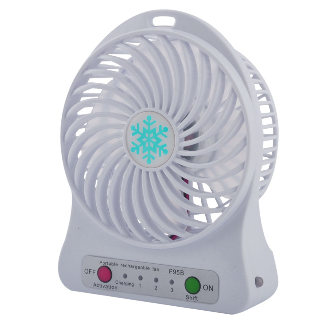 Computer Notebook Desk Mini Rechargeable USB Battery Powered Cooling Fan White