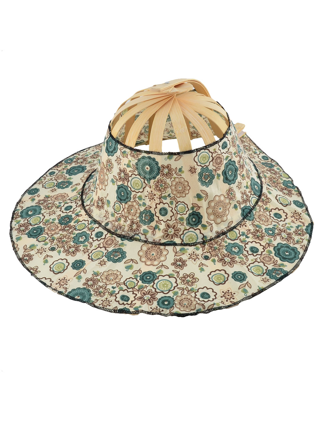 Wedding Party Women Bamboo Frame Floral Pattern Folding Hand Handheld Fan Hat Cap