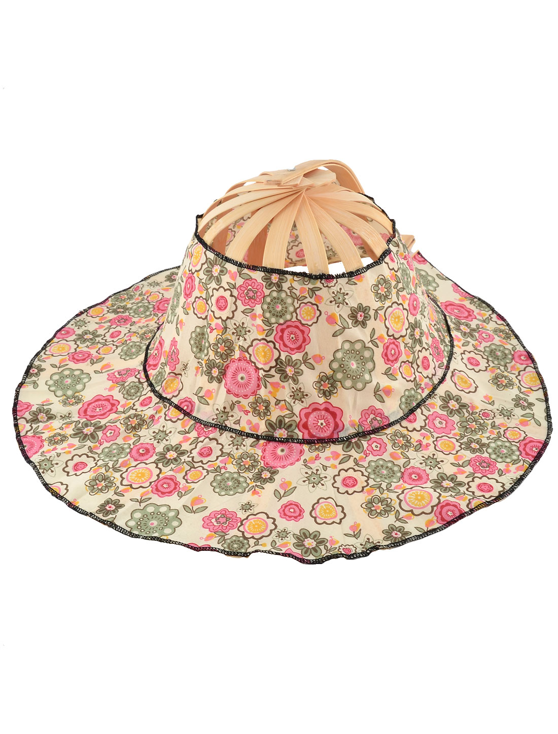 Wedding Party Women Bamboo Frame Floral Pattern Folding Hand Fan Hat Cap Colorful