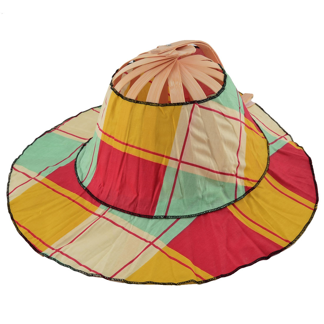 Wedding Party Women Bamboo Frame Grid Pattern Folding Hand Fan Hat Cap Colorful