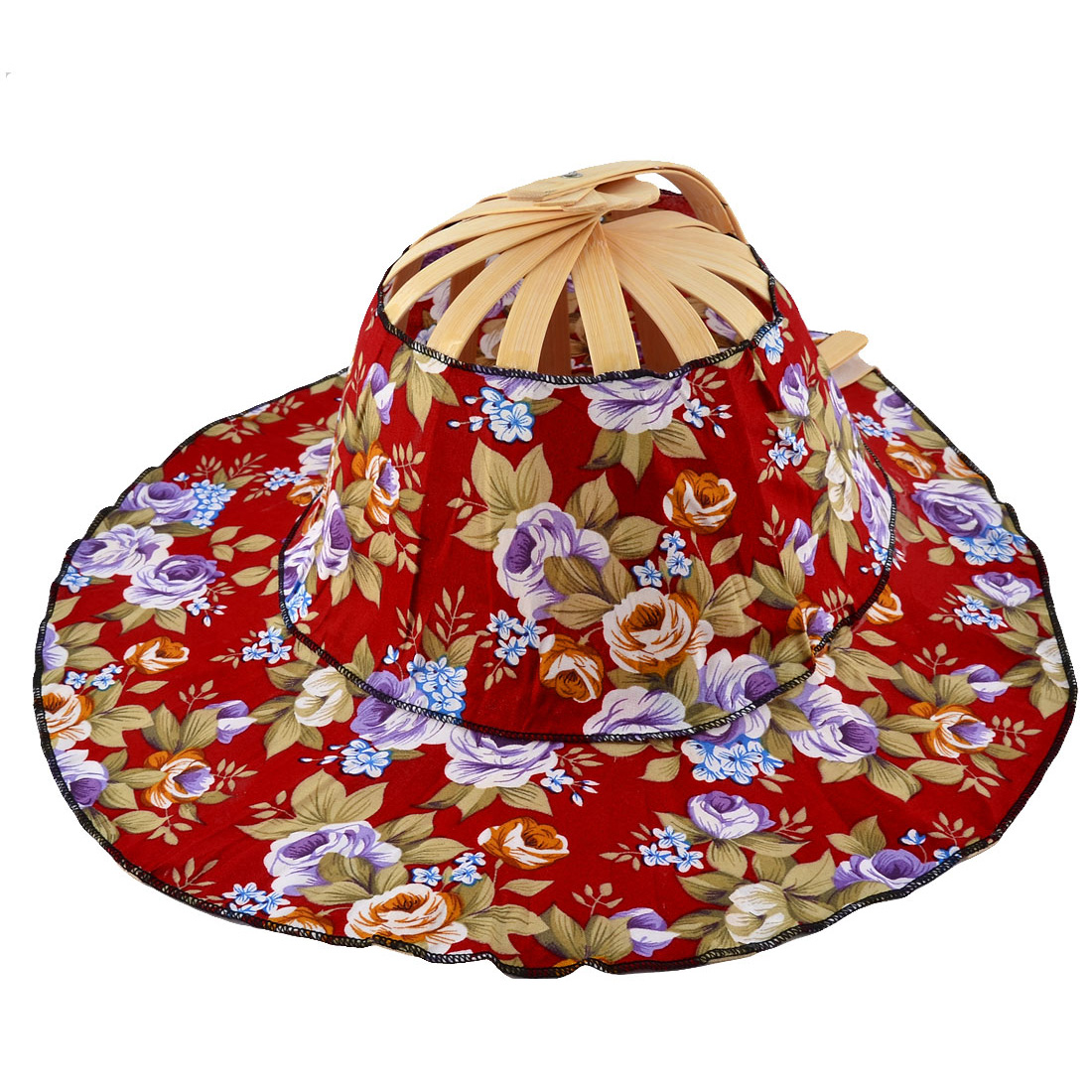 Wedding Party Women Bamboo Frame Floral Pattern Carved Folding Hand Fan Hat Cap