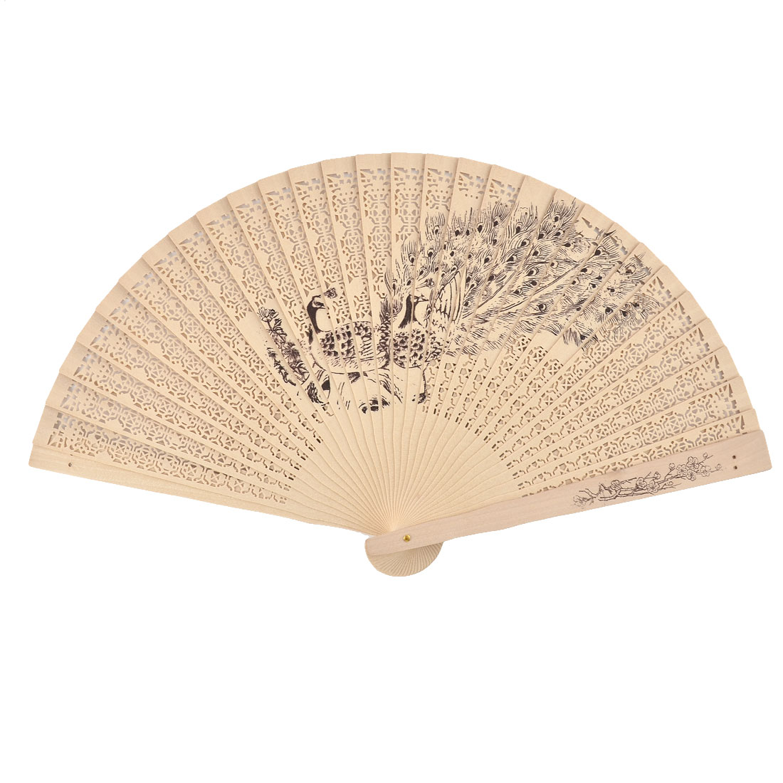 Chinese Wedding Party Wooden Peacock Pattern Hollow Out Scented Folding Hand Fan Beige