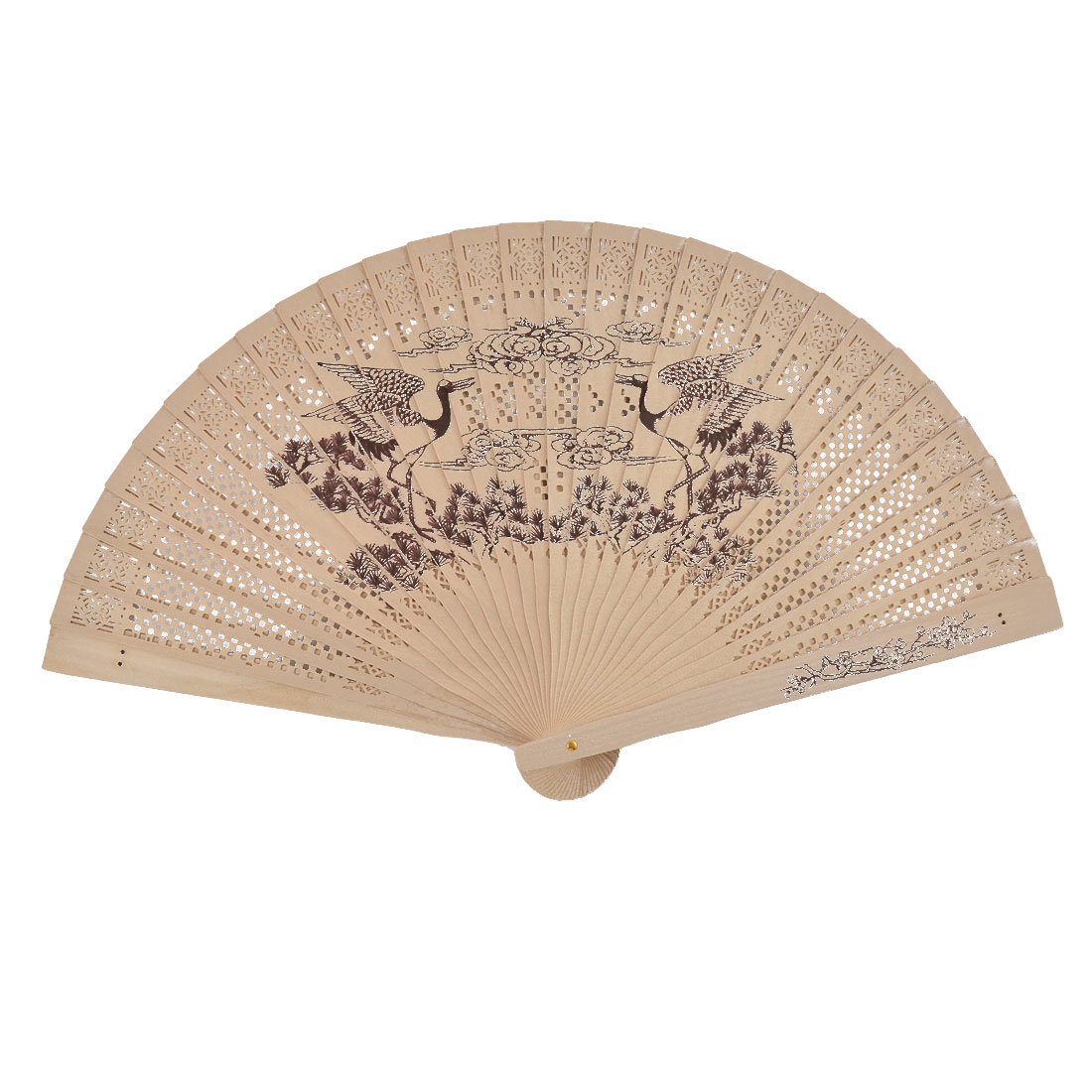 Chinese Wedding Party Wooden Hollow Out Openwork Scented Folding Hand Fan Beige