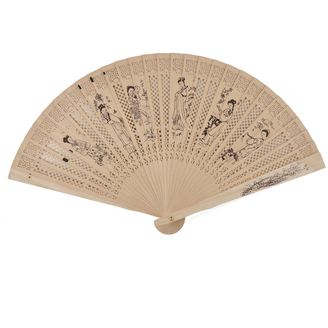 Chinese Wedding Party Wooden Women Pattern Hollow Out Scented Folding Hand Fan Beige
