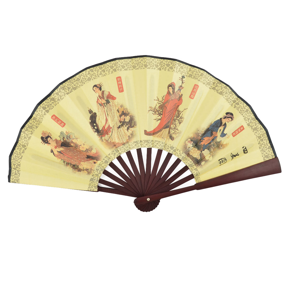 Chinese Vintage Style Bamboo Handle Beauty Painting Poem Pattern Foldable Hand Fan