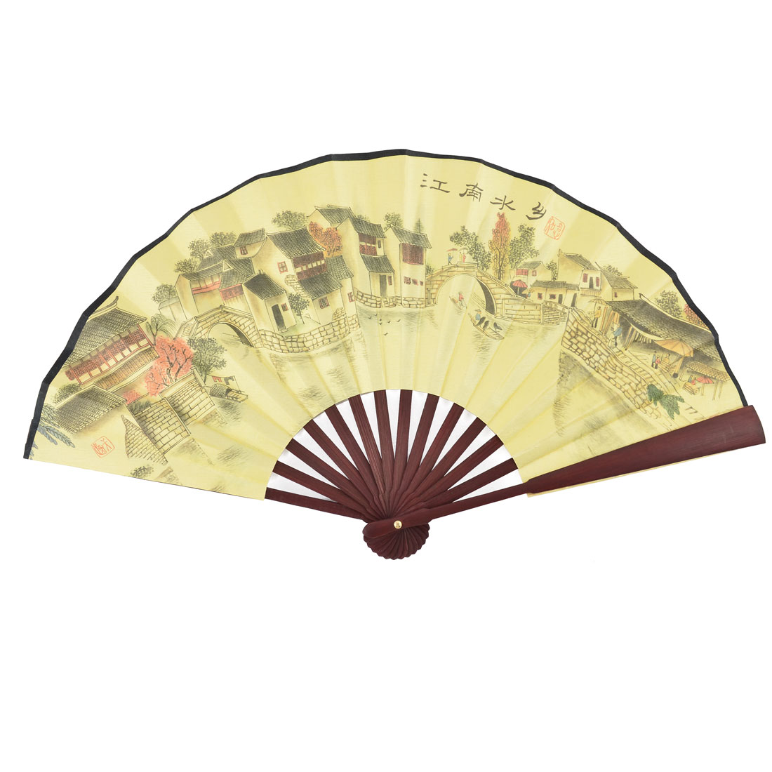 Chinese Vintage Style Bamboo Handle House Painting Poem Pattern Foldable Hand Fan
