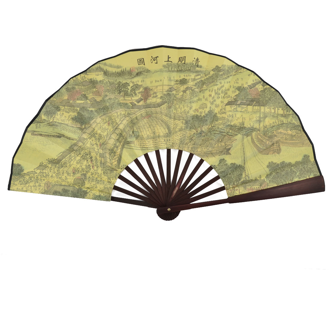 Summer Chinese Vintage Style Bamboo Handle Painting Poem Pattern Foldable Hand Fan