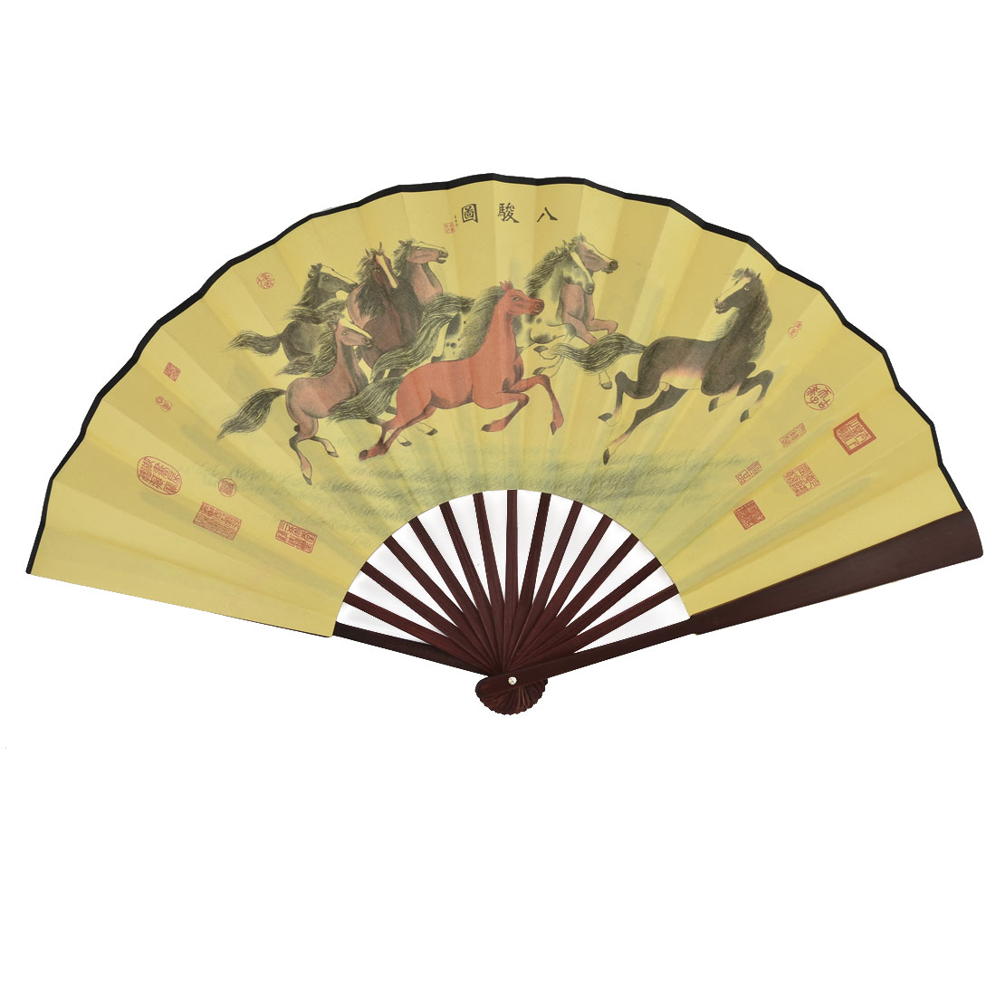 Chinese Vintage Style Bamboo Handle Horse Painting Poem Pattern Foldable Hand Fan
