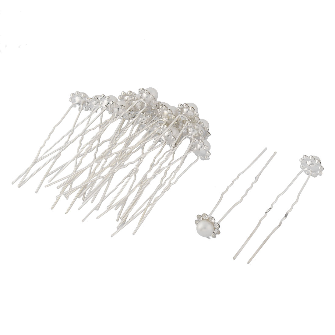 Women Metal U Shaped Imitation Pearl Inlaid Ornament Hairstyle Hair Stick Hairpin 20 Pcs
