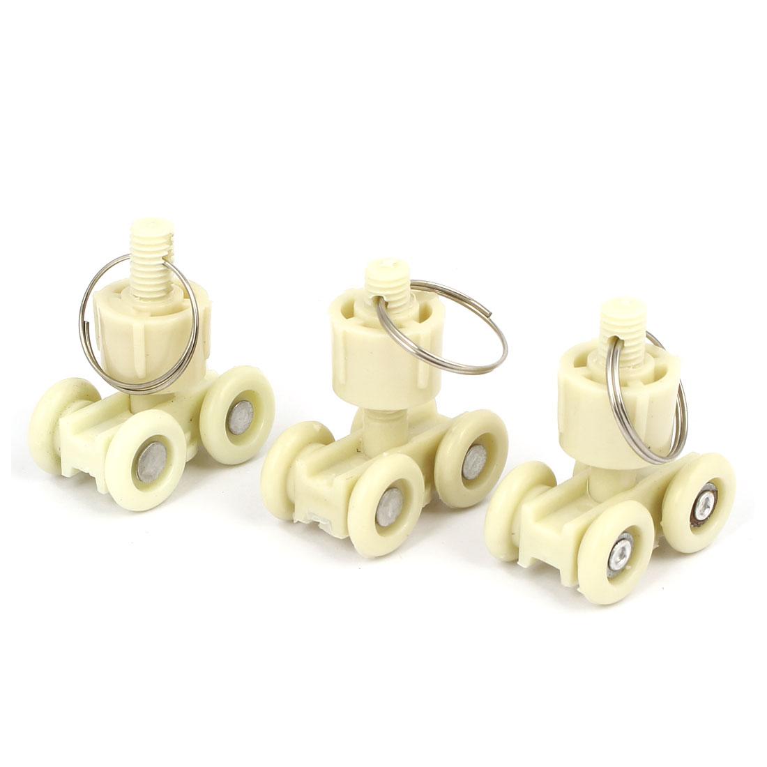 18mm Dia Wheel Plastic Swivel Eye Ring Curtain Track Roller Carrier Beige 3pcs