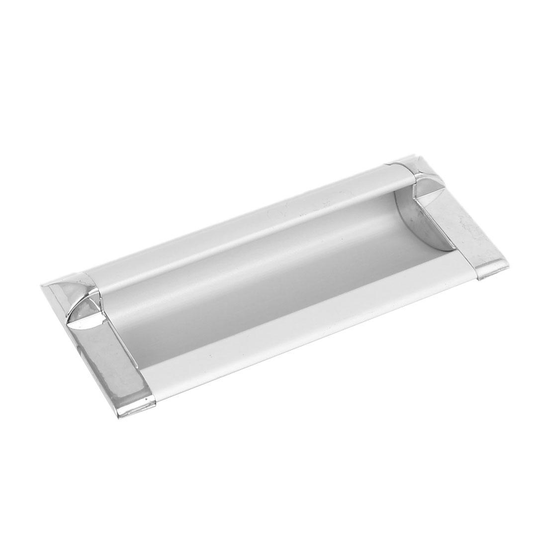 108mmx47mmx20mm Metal Recessed Rectangular Flush Pull Handle Silver Tone