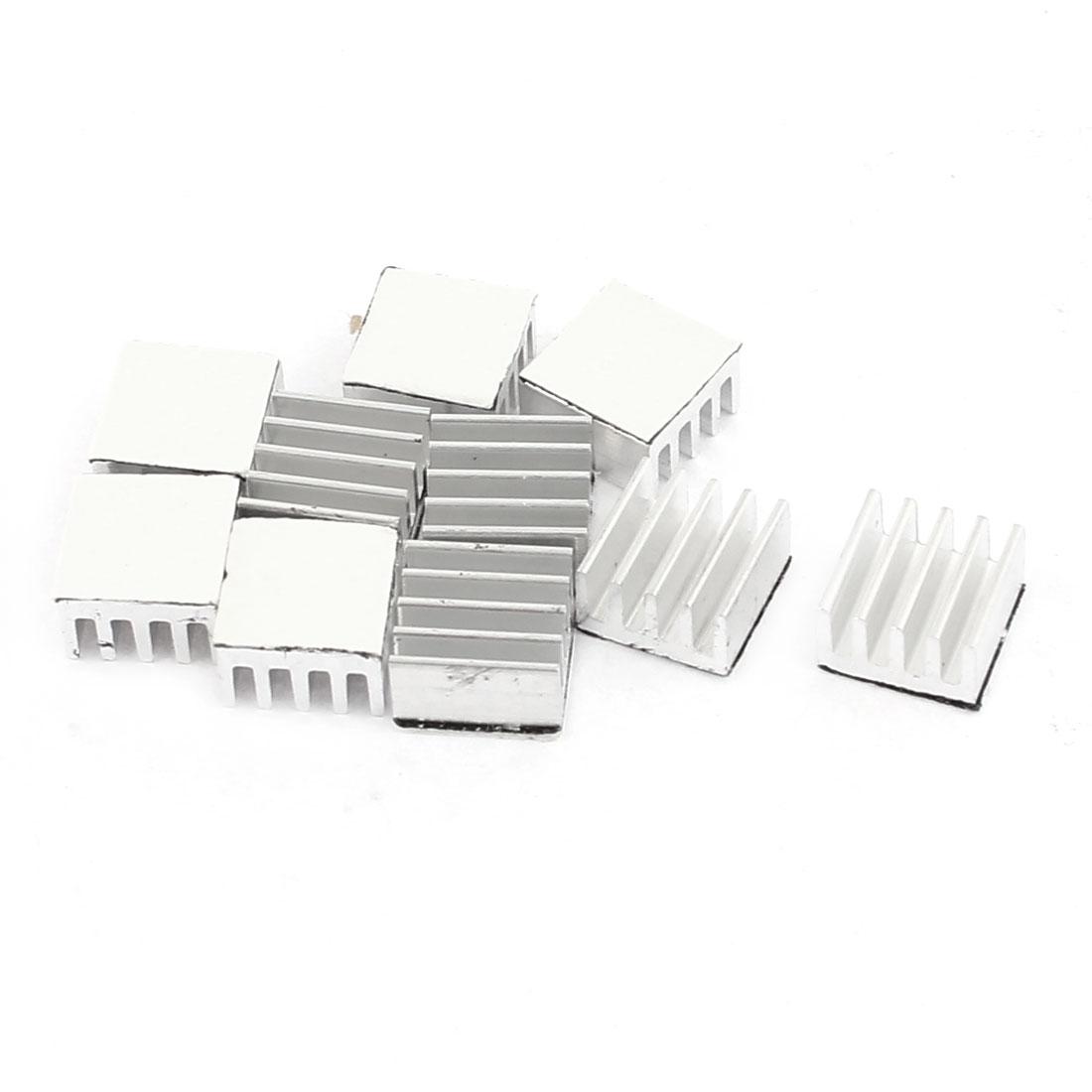 10 Pcs Square Aluminum Heatsink Radiator Cooling Cooler Fin 9x9x5mm Silver Tone