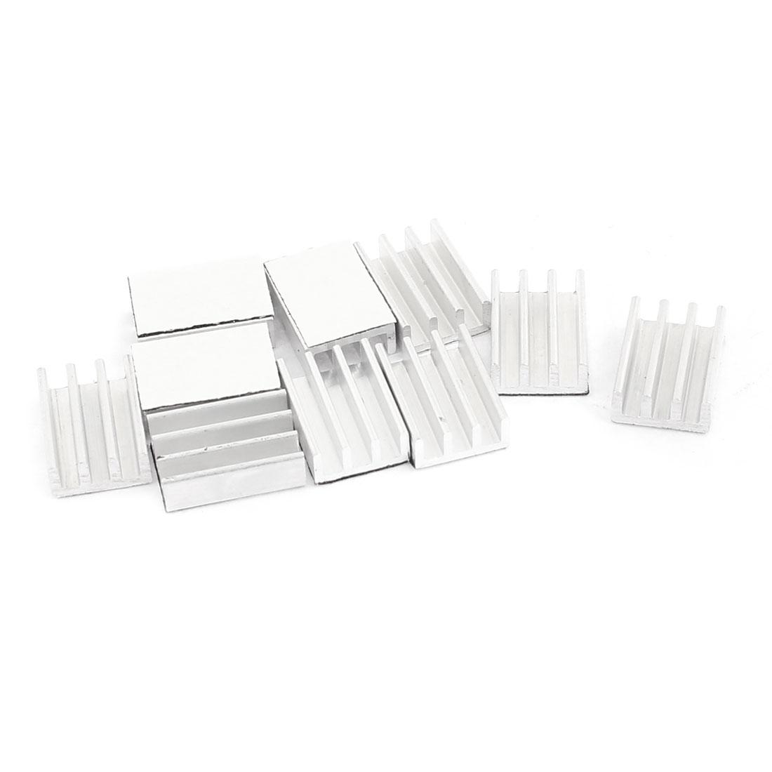 Silver Tone Aluminum Heatsink Cooling Fin 16 x 11 x 5mm 10pcs for CPU IC Chip