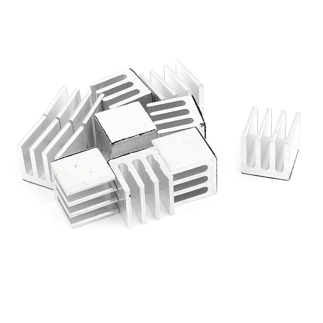 10 Pcs Foursquare Aluminum 9 x 9 x 9mm Heatsink Radiator Fin Silver Tone for IC