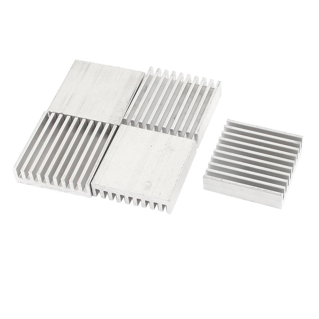 5 Pcs 30 x 30 x 8mm Silver Tone Heatsink Radiating Aluminium Cooler Cooling Fin