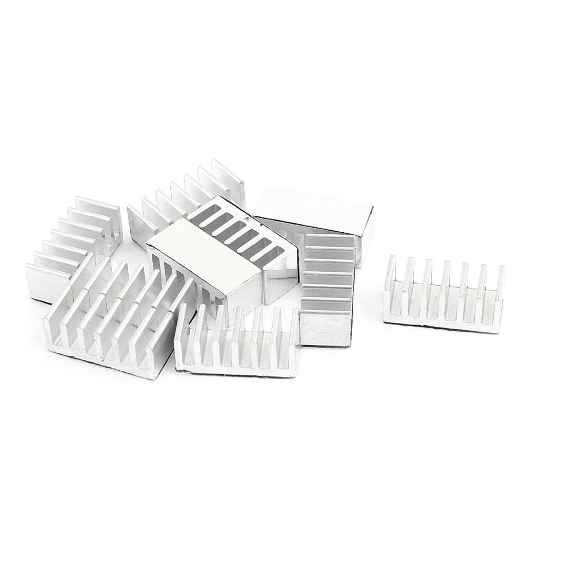 10Pcs Aluminium 6 x 14 x 6mm Heat Sink Radiator Cooling Fin Heatsink Silver Tone