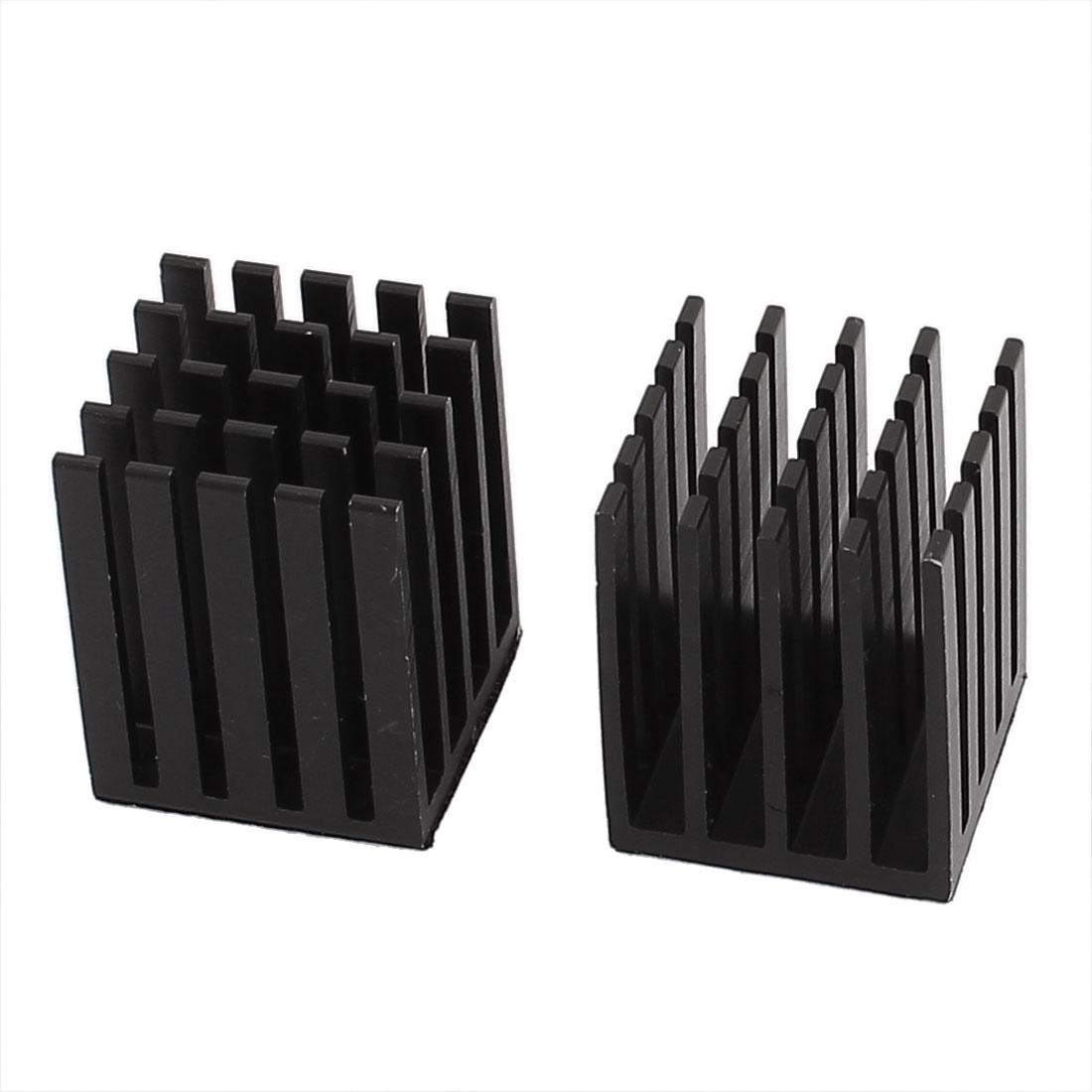 2 Pcs Silver Tone Aluminium Heatsink Cooling Fin 19 x 19 x 24mm for Chipset IC