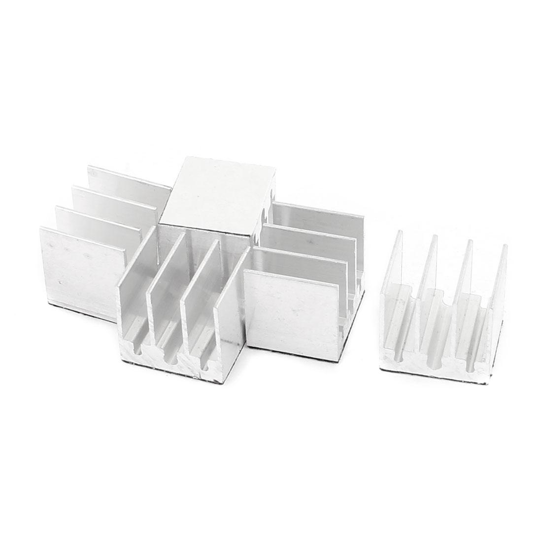 Square Aluminum 14 x 16.5 x 15mm Heatsink Radiator Fin Silver Tone 5 Pcs for CPU