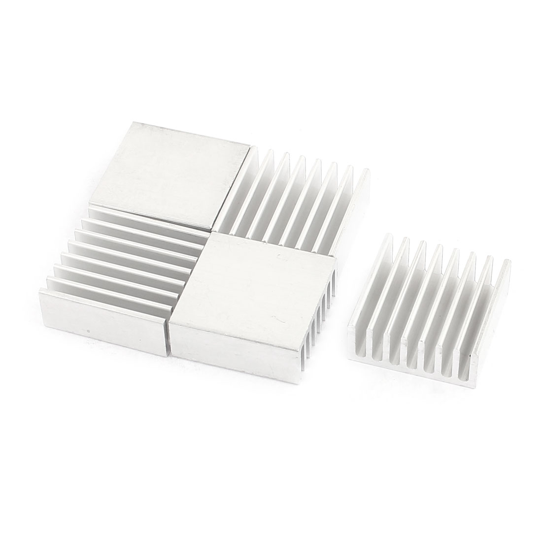 5 Pcs 25 x 25 x 10mm Silver Tone Aluminum Heatsink for LED Power Memory Chip