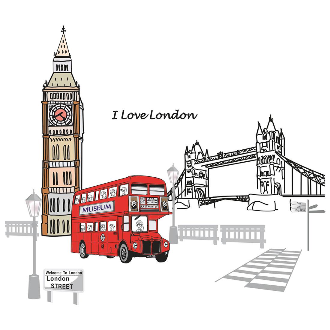 Household Living Room London Street Pattern Removable Wall Sticker Decal Wallpaper