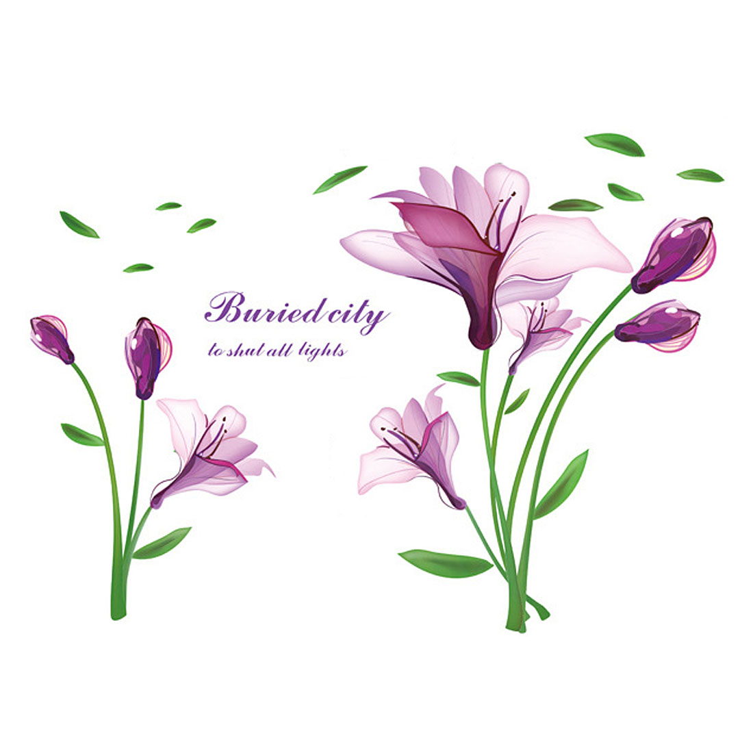 Household Living Room Violet Pattern Removable Wall Sticker Decal Wallpaper