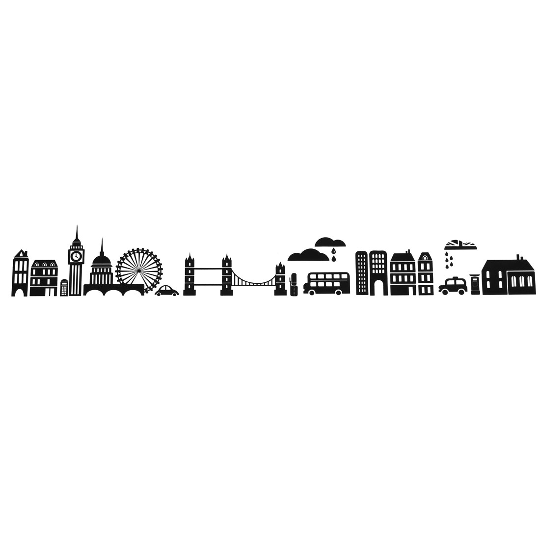 City Night Pattern Self-adhesive Removable Wall Sticker Paper Mural Ornament