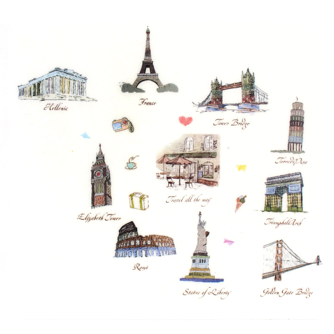 Travel Pattern Self-adhesive Removable Wall Sticker Paper Mural Ornament