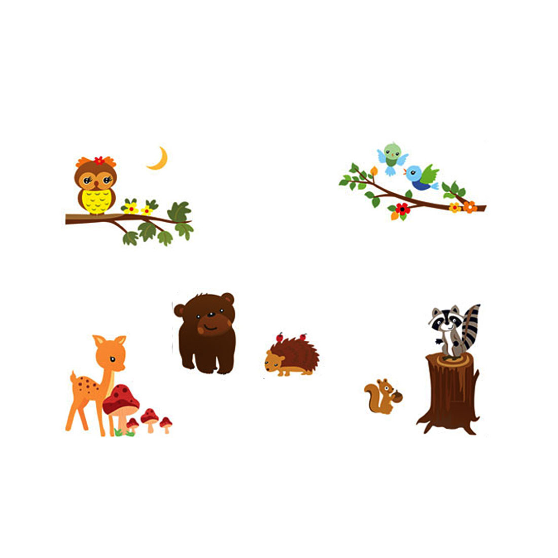 Animal Party Pattern Self-adhesive Removable Wall Sticker Paper Mural Ornament