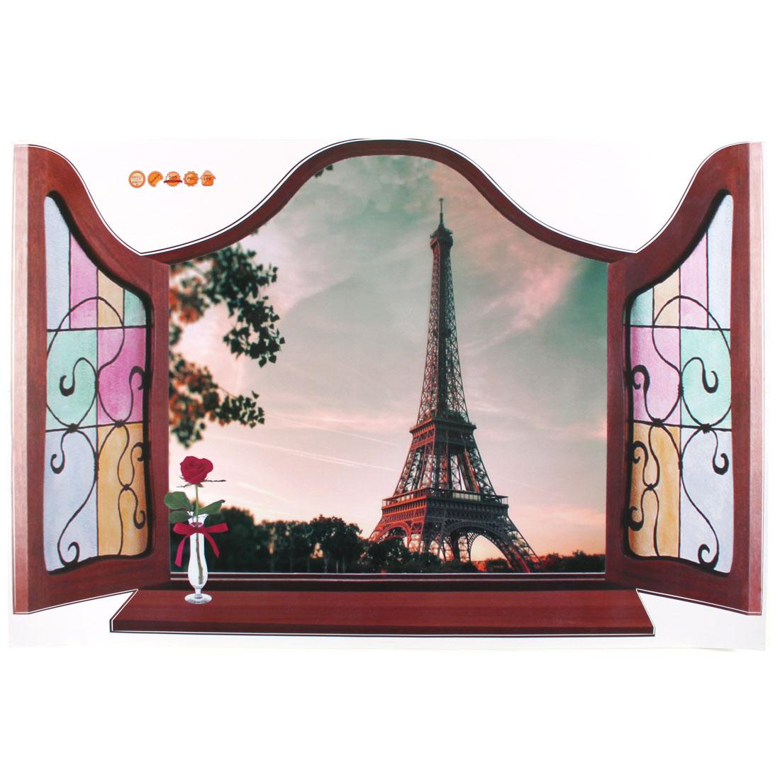 3D Window Eiffel Tower Pattern PVC Wall Sticker Paper Mural Ornament 90 x 60cm