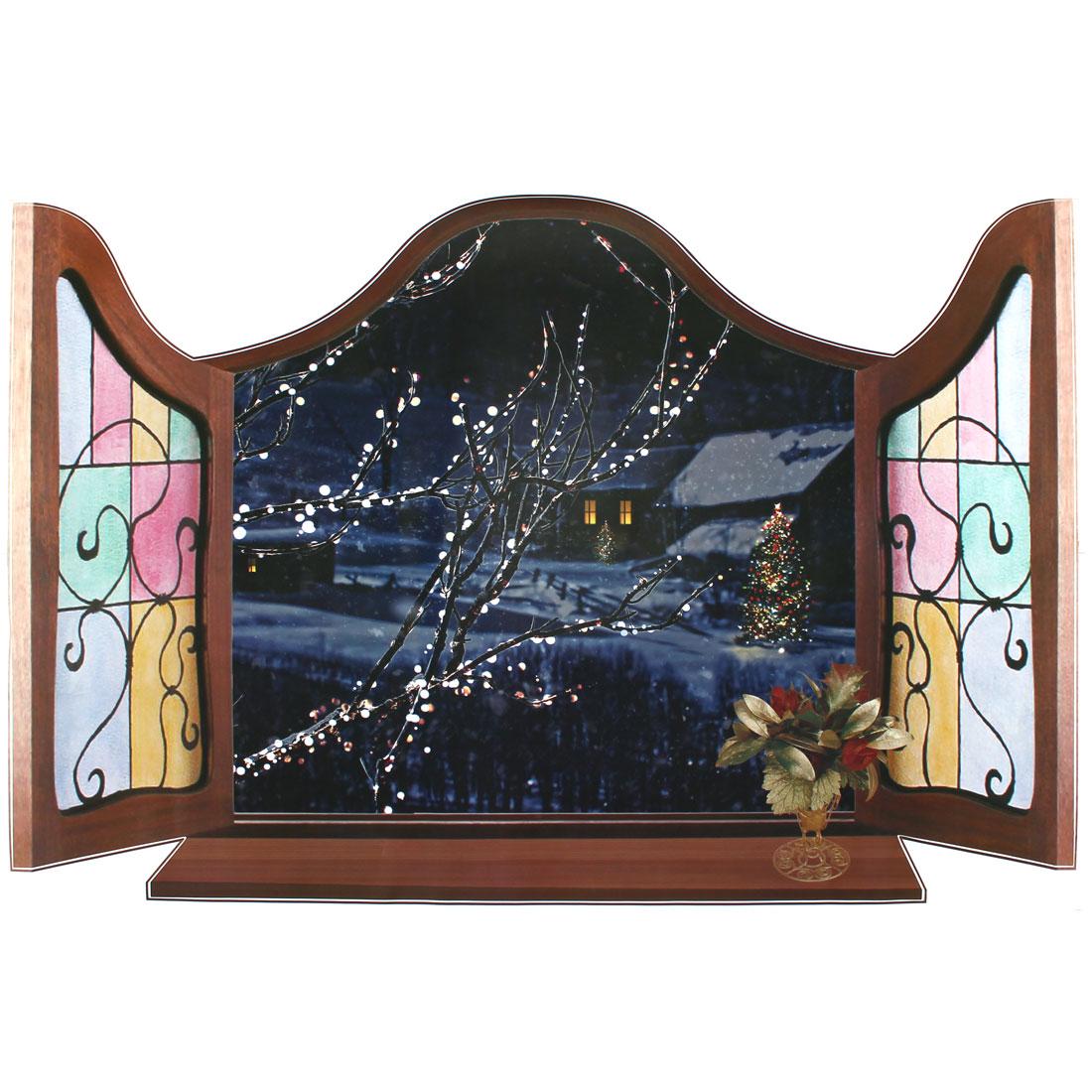 3D Window Wintersweet Pattern Wall Sticker Paper Mural Ornament 90 x 60cm
