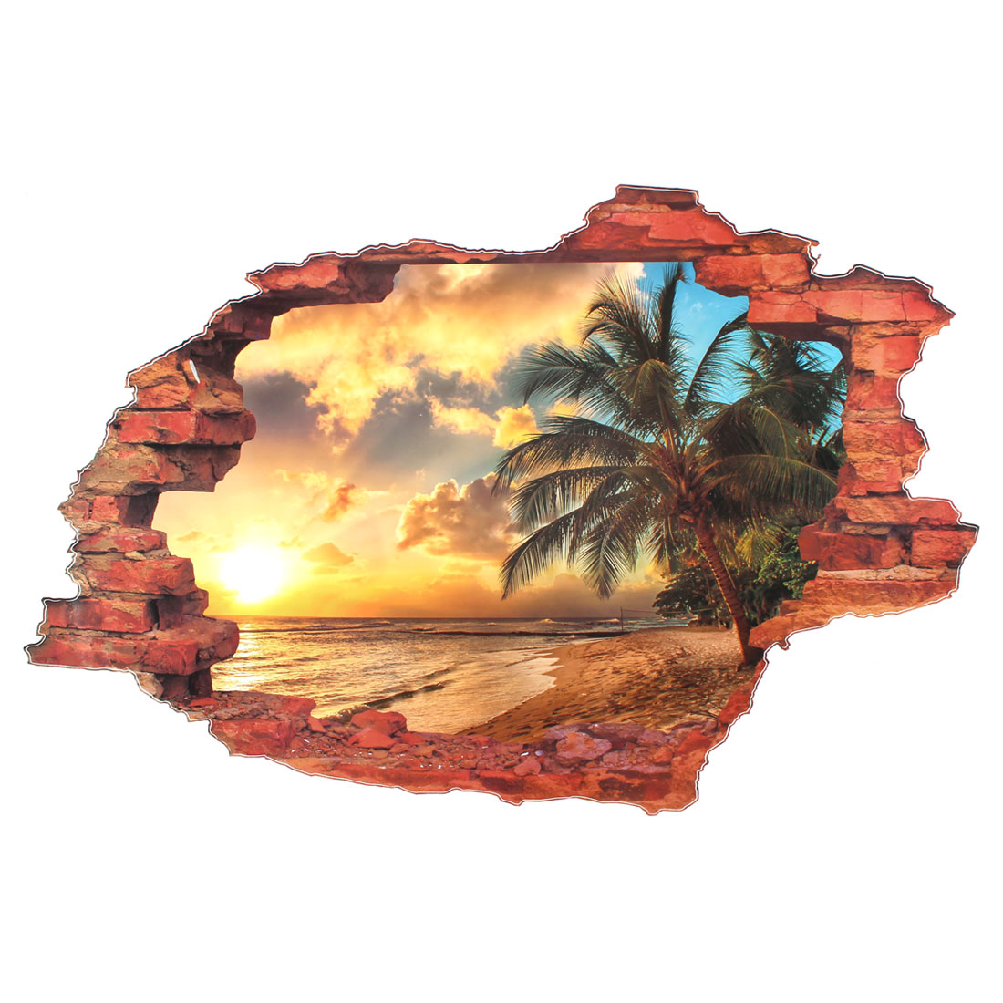 Home 3D Seabeach Coconut Tree Scenery Pattern Art Decal Wall Sticker Mural