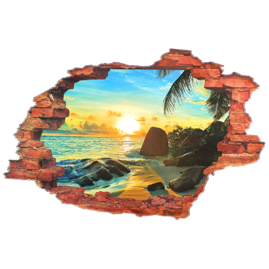 3D Ocean Beach Scenery Pattern PVC DIY Art Decal Wall Sticker Mural Decor
