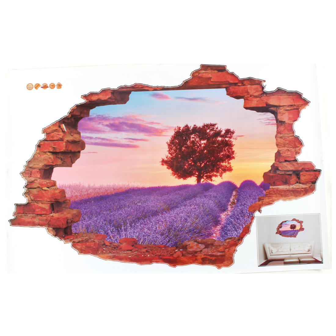 Home 3D Lavender Scenery Pattern Art Decal Wall Sticker Mural Decoration
