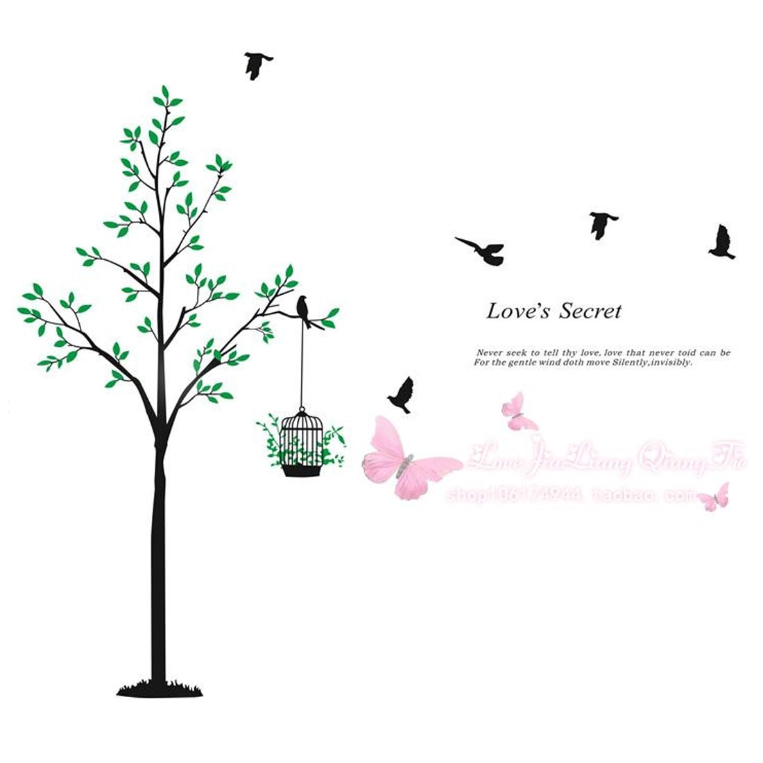 Tree Bird Cage Pattern Window Living Room Art Decal Wall Sticker Decor