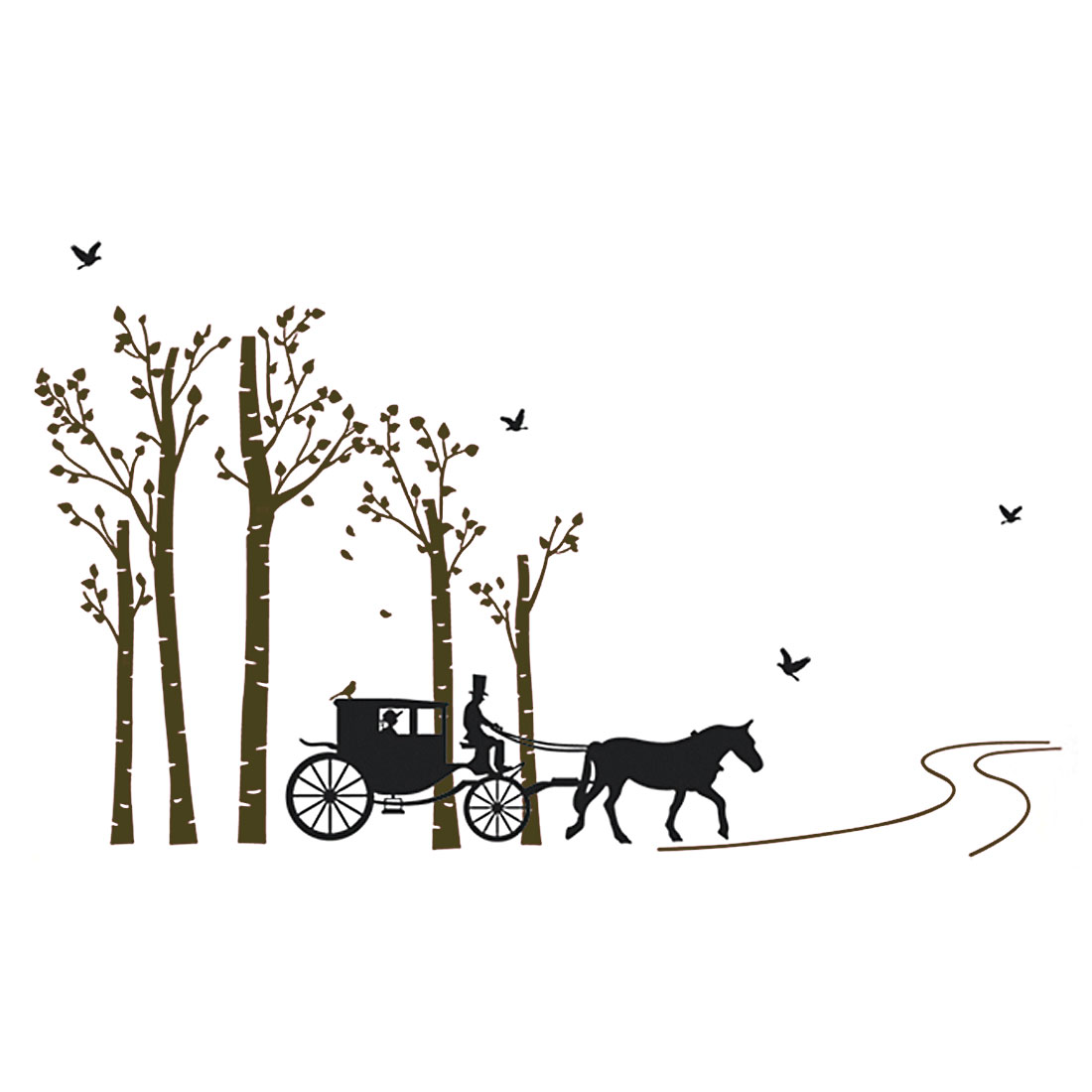Tree Carriage Pattern Window Living Room Art Decal Wall Sticker Decor