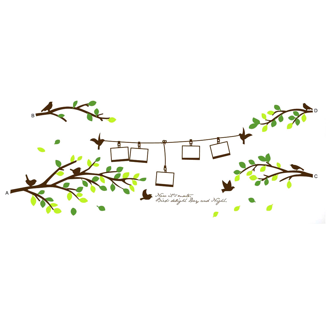 Branch Photo Frame Pattern Water Resistant DIY Art Decal Wall Sticker Decoration
