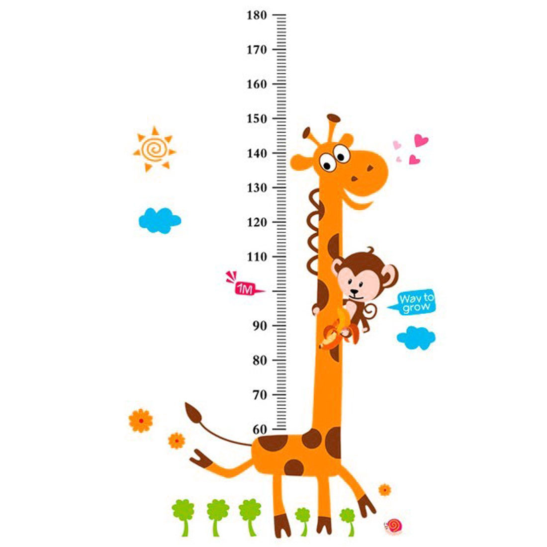 Growth Height Measure Chart Giraffe Pattern PVC Wall Sticker DIY Wallpaper Decor
