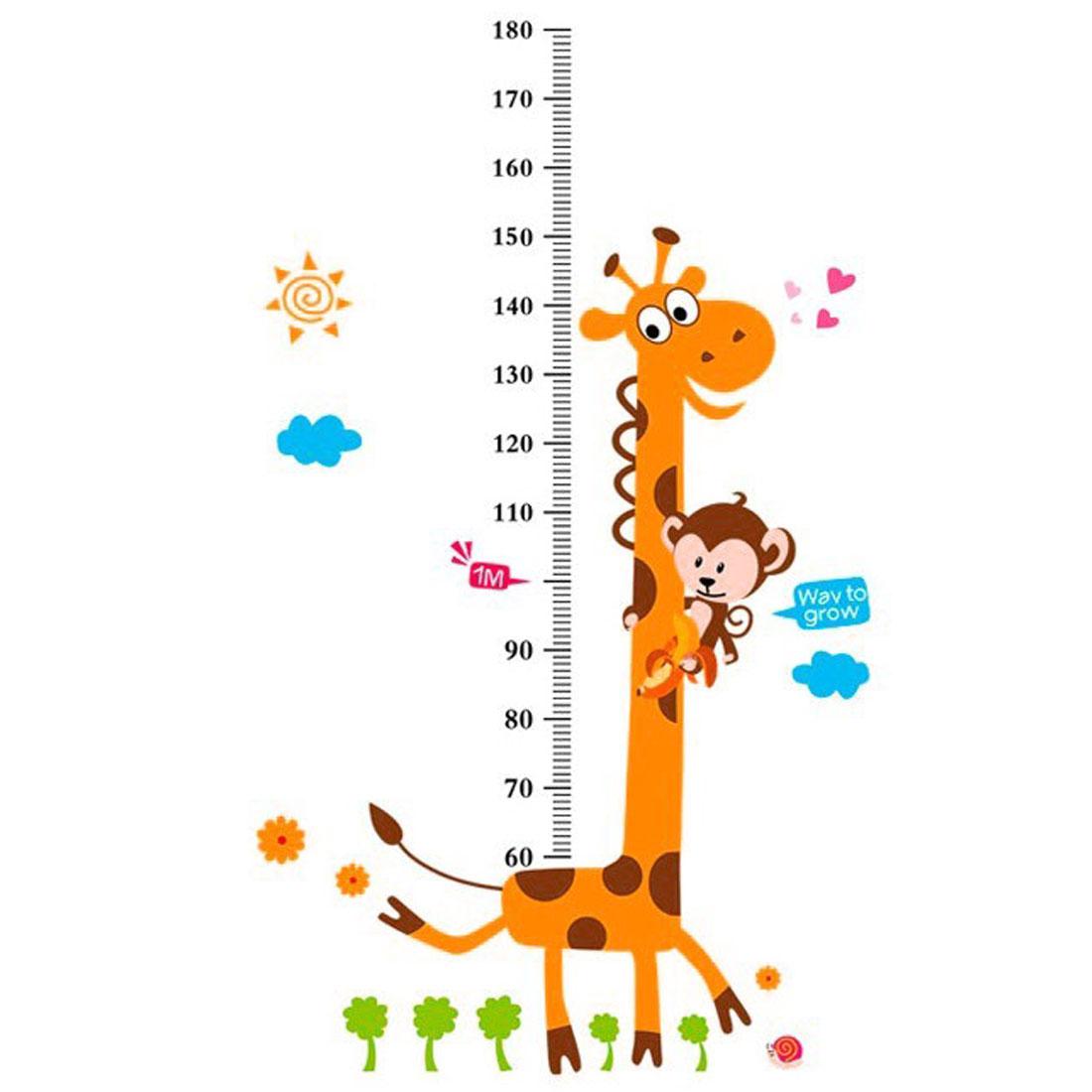 Growth Height Measure Chart Giraffe Pattern PVC Wall Sticker DIY Wallpaper Decor
