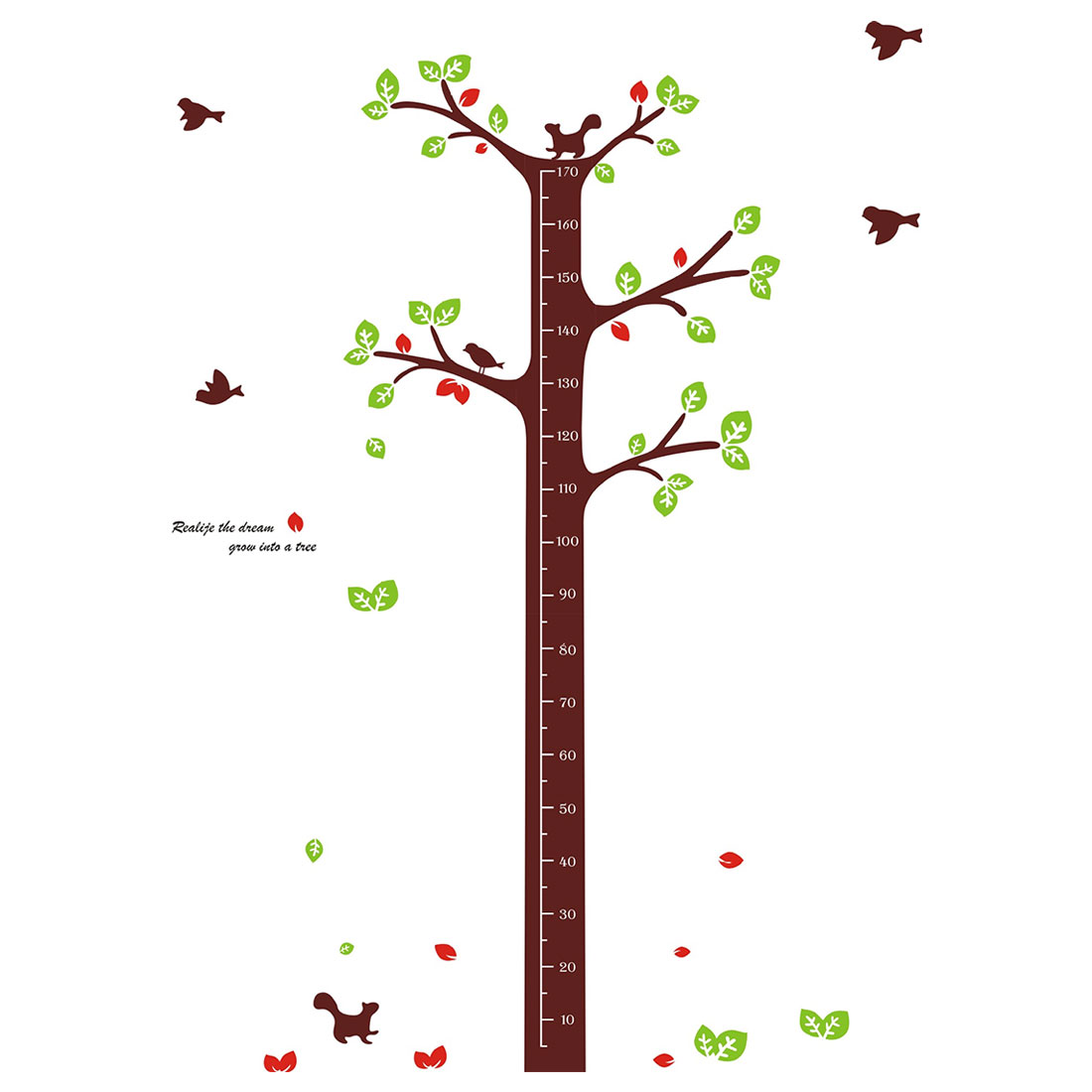 Growth Height Measure Tree Pattern PVC Wall Sticker DIY Wallpaper Decor