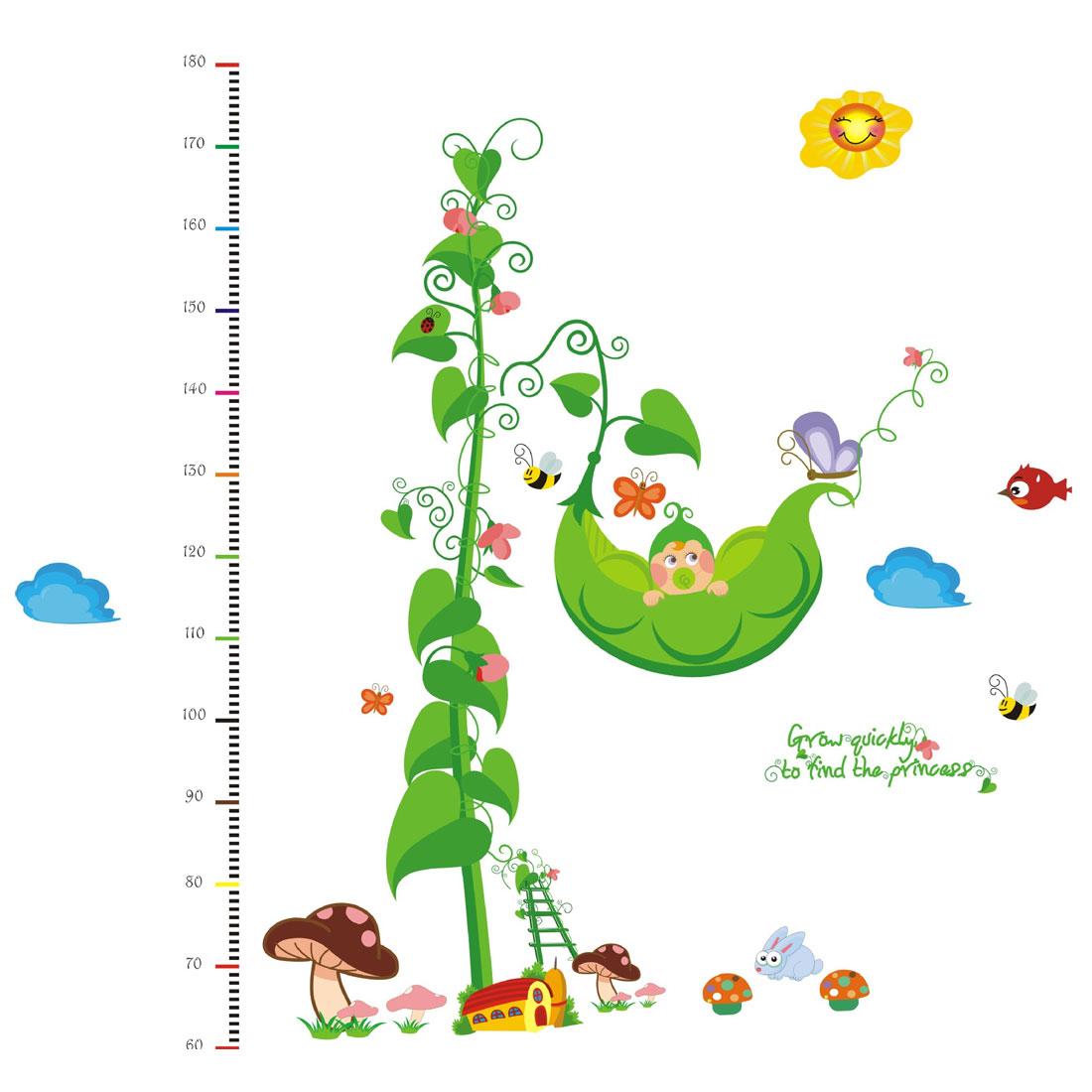Growth Height Measure Chart Rattan Pattern PVC Wall Sticker DIY Wallpaper Decor