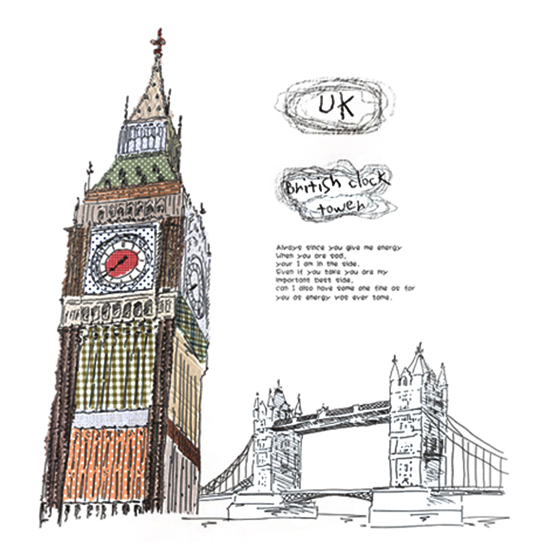 Big Ben Pattern Self-adhesive Removable Wall Sticker Paper Mural Ornament