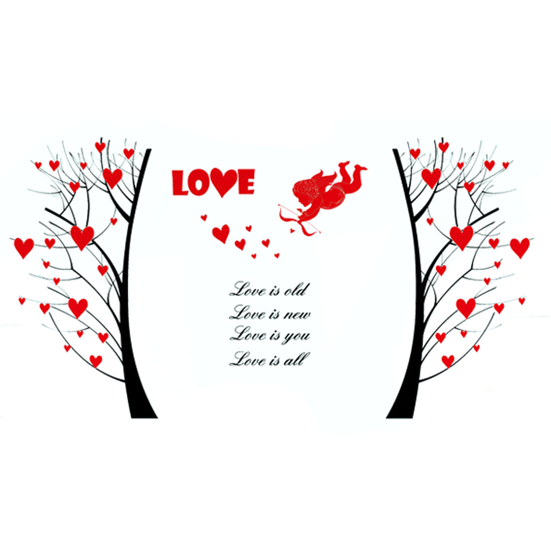 Loving Heart Tree Pattern Self-adhesive Removable Wall Sticker Paper Mural Ornament
