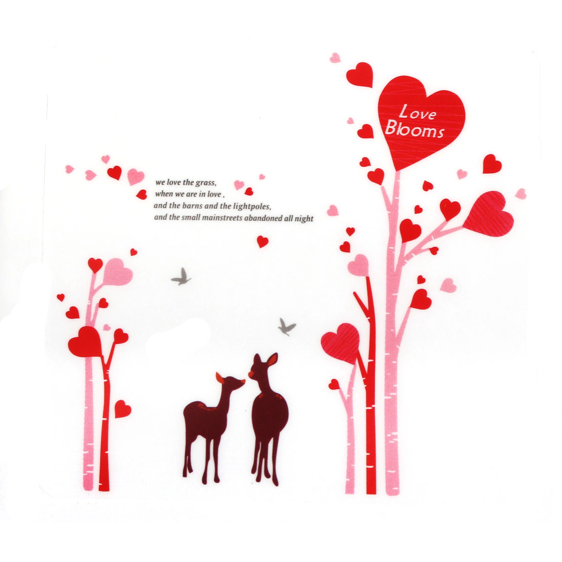 Love Blooms Pattern Self-adhesive Removable Wall Sticker Paper Mural Ornament