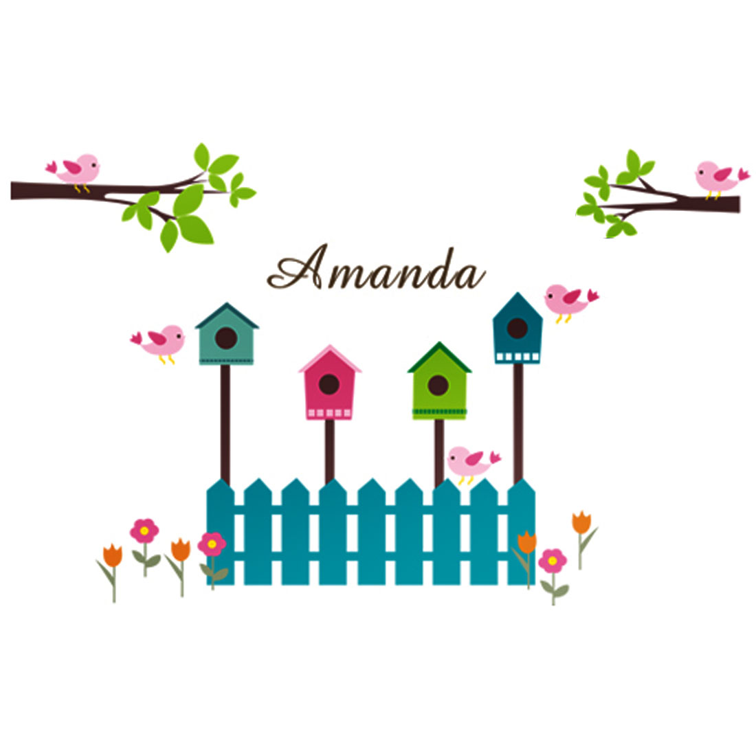 Birdhouse Pattern Self-adhesive Removable Wall Sticker Paper Mural Ornament