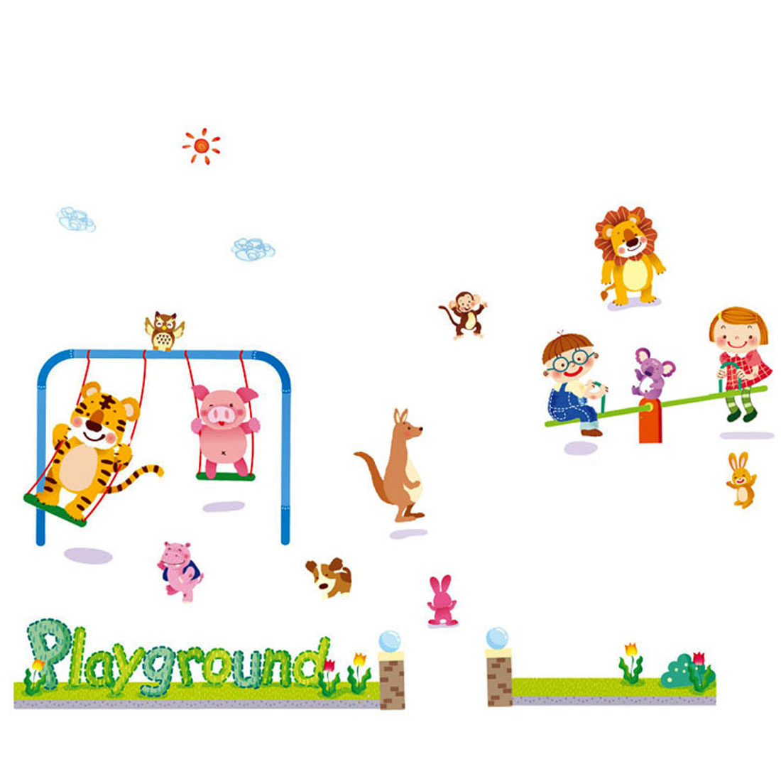 Playground Pattern Self-adhesive Removable Wall Sticker Paper Mural Ornament