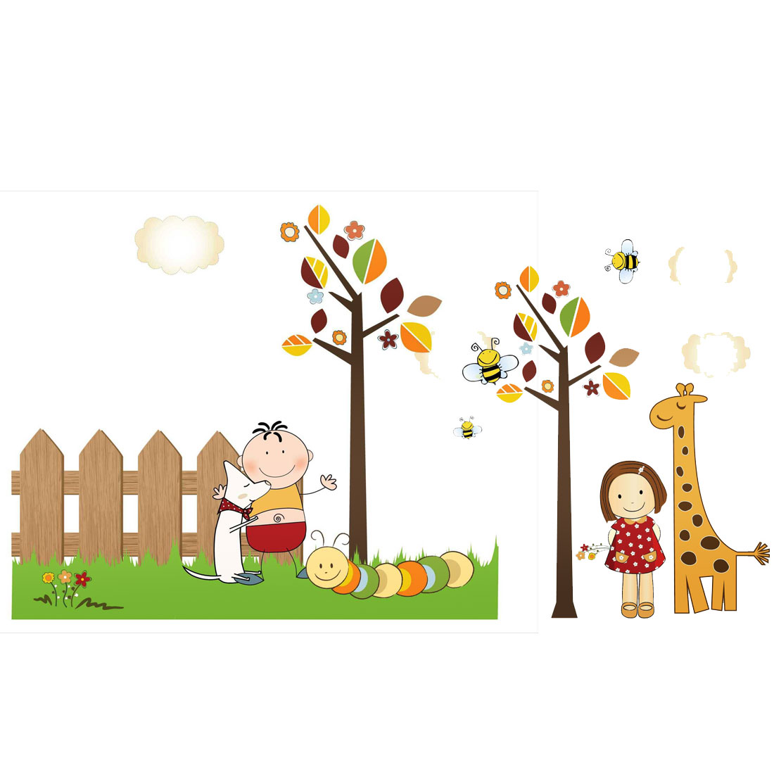 Girl Boy Pattern Self-adhesive Removable Wall Sticker Paper Mural Ornament